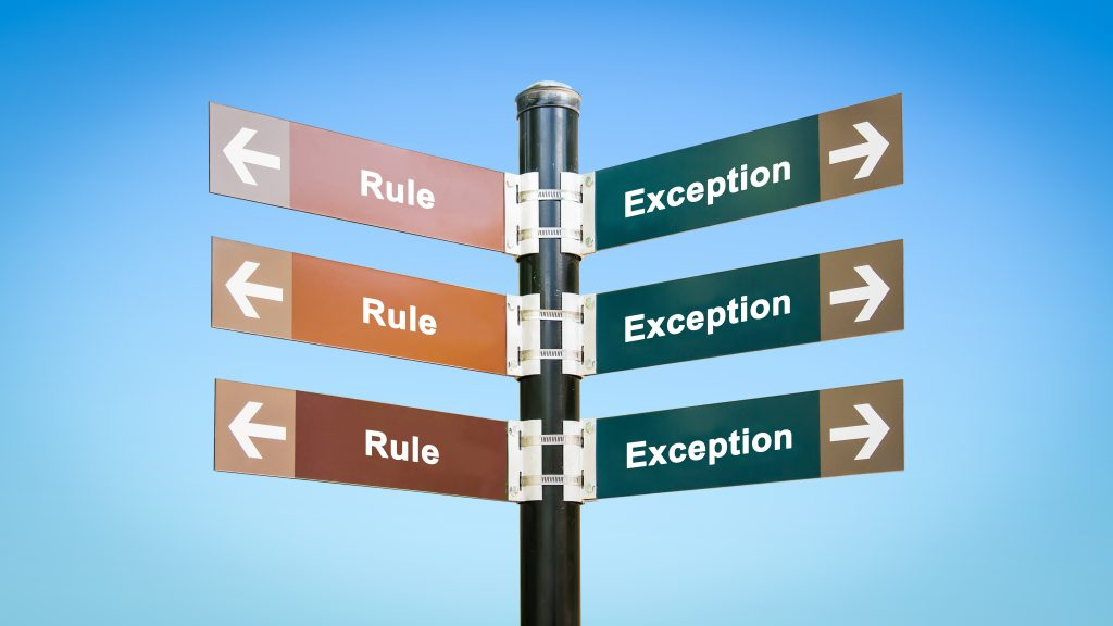 Picture of street sign with 3 slat signs to the left for Rule, and 3 slat to right for Exception