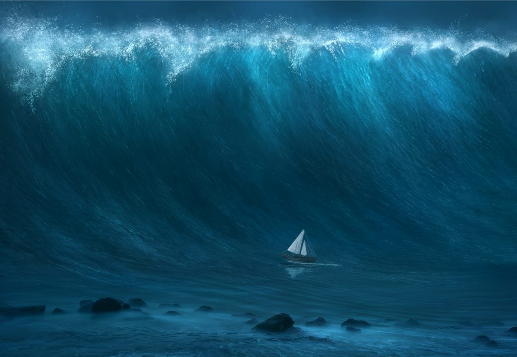 A huge tsunami wave towers over a small sailboat -- Ruh Roh